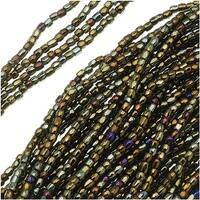 Czech Tri-Cut Seed Beads Size 12/0 - Opaque Brown Iris (1 Strand/360 Beads)