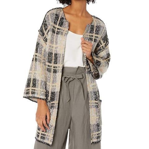 Democracy Womens Sweater Beige Size XS Cardigan 3/4 Sleeve Open Front