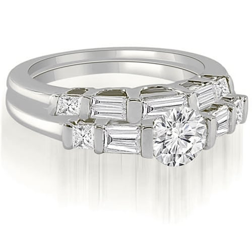 1.40 cttw. 14K White Gold Round And Baguette Cut U-Bar Diamond Bridal Set