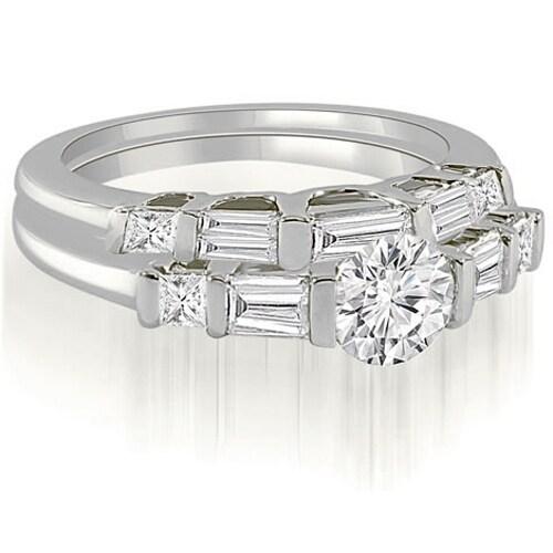 1.65 cttw. 14K White Gold Round And Baguette Cut U-Bar Diamond Bridal Set