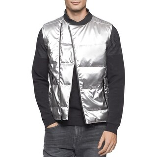 Calvin Klein CK One Slim Fit Quilted Metallic Silver-Tone Vest X-Large, Silver