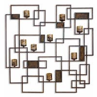 """48"""" Modern Hand Forged Wall Sculpture Sconce Candle Holder with Antiqued Candles - Brown"""