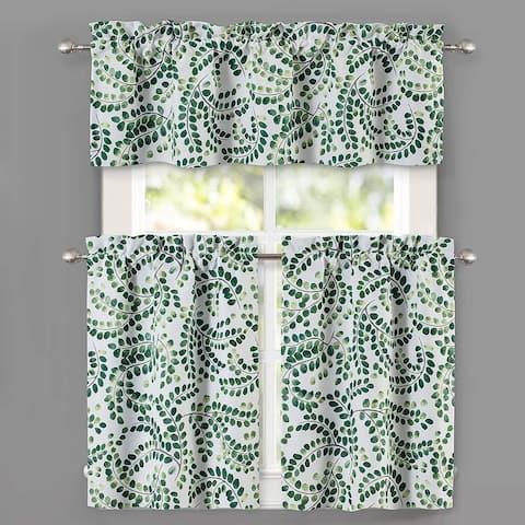 DriftAway Aleena Floral Scroll Pattern Semi Sheer 3 Pieces Window Curtain Set