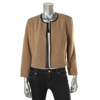 Kasper Womens Textured Faux Leather Trim Jacket