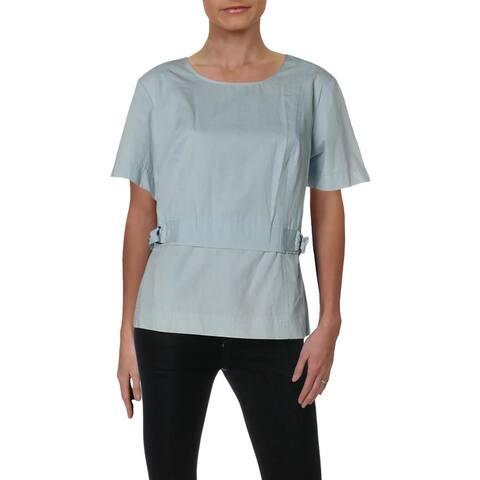 Donna Karan Womens Pullover Top Chambray Short Sleeves
