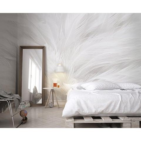 Monochrome Scandinavian Abstraction Feather Textile Wallpaper