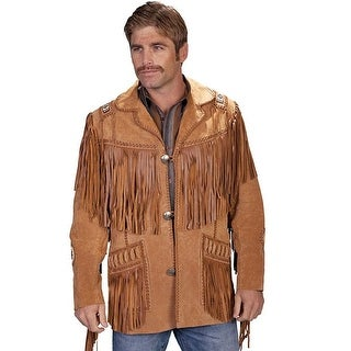 Scully Western Coat Mens Concho Leather Button Fringe Carmel 758-409