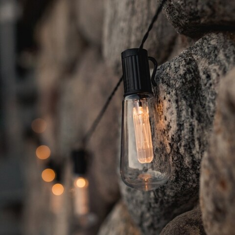 LUMINITES Solar Powered LED String Light Bulbs