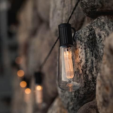LUMINITES Solar Powered LED Patio Bulb String Lights
