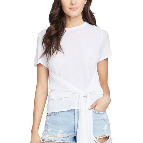 Rachel Roy Womens Cropped Tie Front Basic T-Shirt