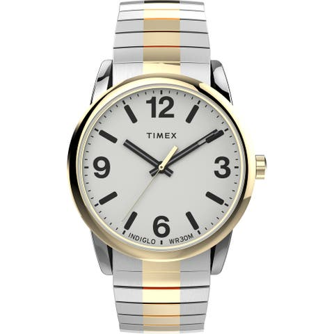 Timex Men's Easy Reader Bold 38mm Perfect Fit Watch  Two-Tone Case White Dial with Two-Tone Expansion Band