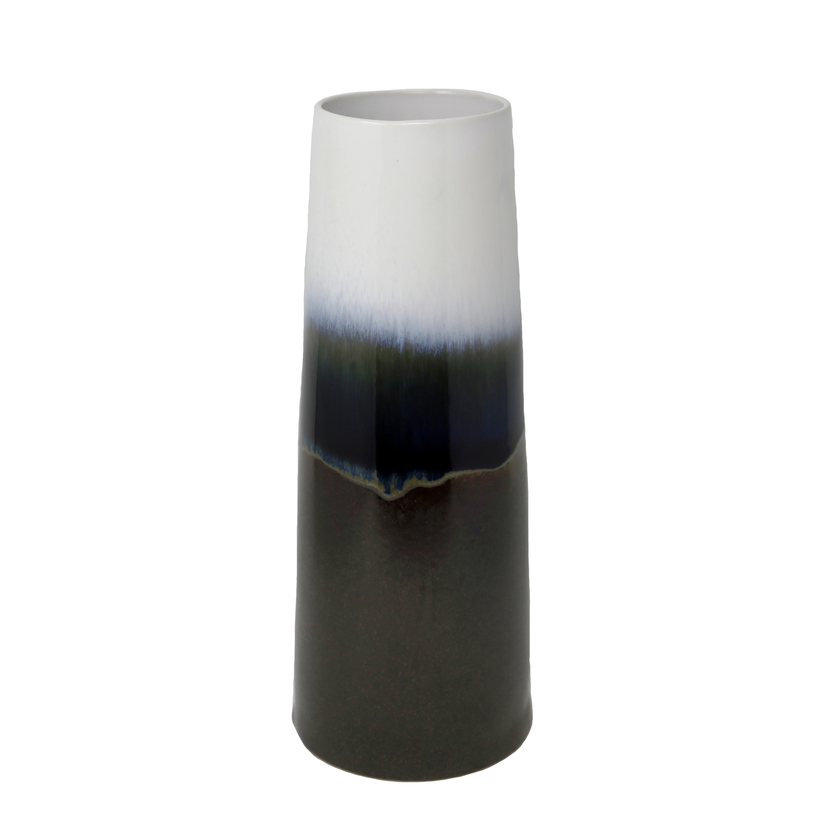 Ceramic Multi Layered Vase with Round Open Mouth and Flat Bottom, Multicolor