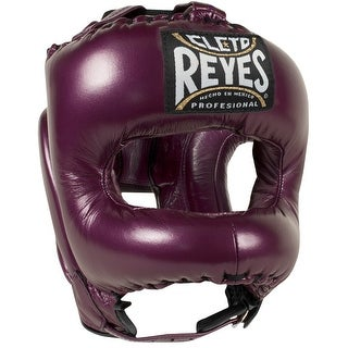Cleto Reyes Traditional Leather Boxing Headgear with Nylon Face Bar - Purple