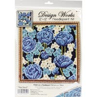 """Blue Roses Needlepoint Kit-12""""X12"""" Stitched In Yarn"""