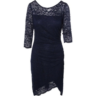 Laundry by Shelli Segal Womens Lace Ruched Cocktail Dress