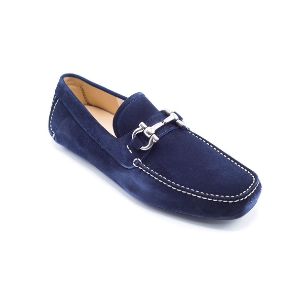 5d66a90705d93 Shop Salvatore Ferragamo Men's Navy Parigi Suede Loafers - Ships To ...