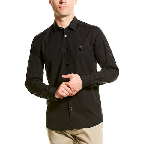 Burberry Monogram Motif Stretch Poplin Slim Fit Woven Shirt