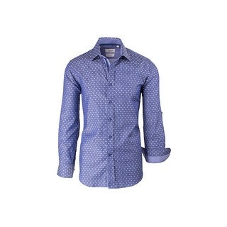 CLEARANCE Blue with White Polka-Dot Pattern, Modern Fit, Long Sleeve Sport Shirt by Tiglio Sport SP9029