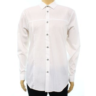 INC NEW Solid White Stitched Mens Size XL Button Down Collared Shirt