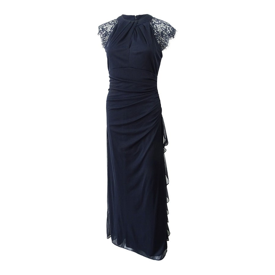 Betsy & Adam Womens Lace Matte Jersey Gown - Navy
