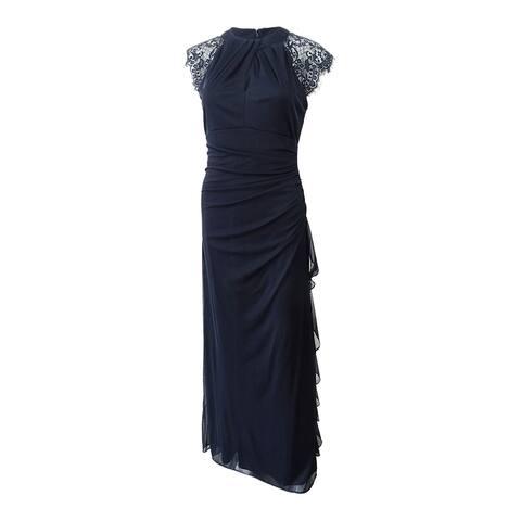 Betsy & Adam Women's Lace Matte Jersey Gown - Navy