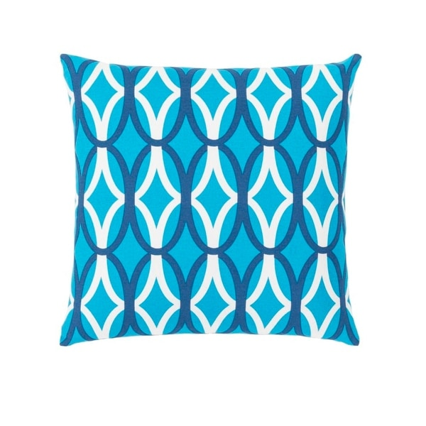 "18"" Sky Blue, Navy and White Woven Contemporary Decorative Throw Pillow-Down Filler"