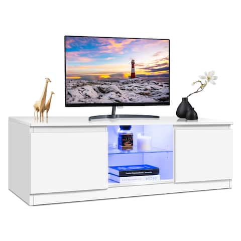 Costway High Gloss TV Stand Unit Cabinet Media Console Furniture w/ LED Shelves White