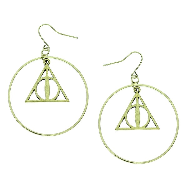 Harry Potter Movie Deathly Hallows Symbol Hoop Earrings Official HP New