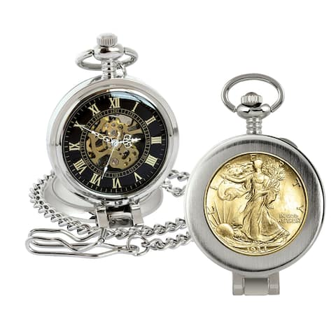 Gold-Layered Silver Walking Liberty Half Dollar Coin Pocket Watch with Skeleton Movement - 2.75 x 1.5