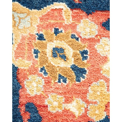"""Eclectic, One-of-a-Kind Hand-Knotted Area Rug - Blue, 8' 10"""" x 11' 8"""" - 8' 10"""" x 11' 8"""""""