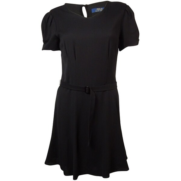 Polo Ralph Lauren Women's Belted Crepe A-Line Dress - Black