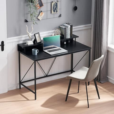 Home Office Computer Desk Modern Study Writing Desk with Monitor Stand