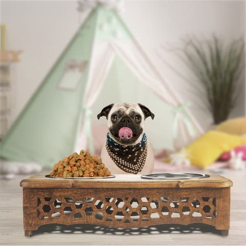 "Handmade Mango Wood Elevated Double Pet Feeder with Geometric Honeycomb Cutouts - 19"" x 9.5"" x 5"""