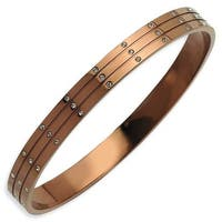 Chisel Stainless Steel Polished Brown Plated with CZs Bangle