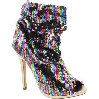 Liliana Maxim-12 Multi Color Sequins Peep Toe High Heel Above Ankle Bootie - Rainbow