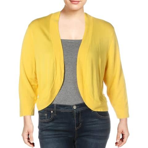 Jessica Howard Womens Plus Cardigan Sweater Knit 3/4 Sleeves - Yellow - 22W