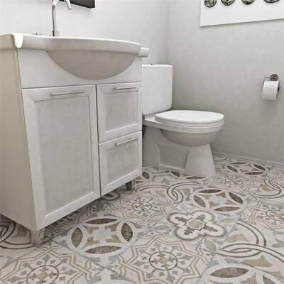 """SomerTile Llanes Perla Granada Encaustic 13.13"""" x 13.13"""" Ceramic Floor and Wall Tile"""