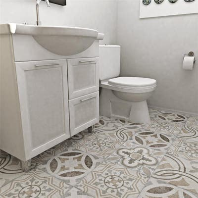 "SomerTile Llanes Perla Vigo Encaustic 13.13"" x 13.13"" Ceramic Floor and Wall Tile"
