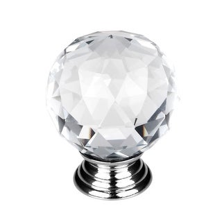 """1.18"""" Dia Crystal Glass Drawer Knobs Cabinet Pull Handle New Round Clear"""