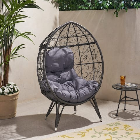 Gianni Outdoor Wicker Teardrop Chair with Cushion by Christopher Knight Home