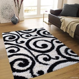 "Allstar Black Dense High Pile Posh Shaggy Area Rugs, Textured Frieze, Soft, Comfortable, Modern & Contemporary (5' 0"" x 7' 0"")"