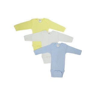 Bambini Baby Boy's Yellow, White, Blue Rib Knit Pastel Long Sleeve Onesie 3-Pack
