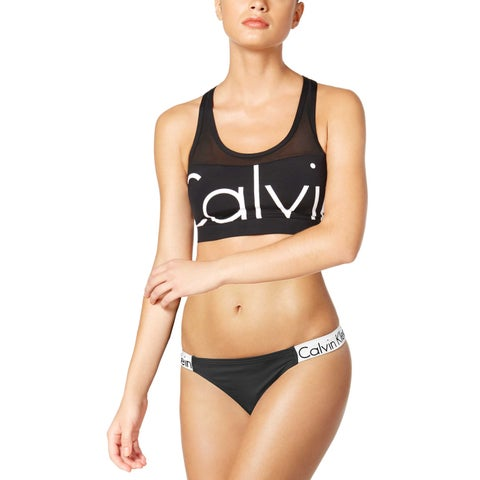 Calvin Klein Womens Illusion Active Logo Two Piece Set Swimsuit X-Large Black