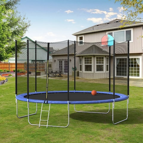 Merax 12FT/ 16FT Round Trampoline with Basketball Hoop