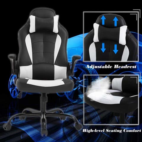SuperBrite White PC Gaming Chair Massage Office Chair