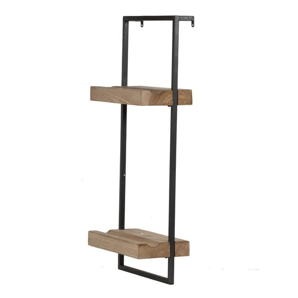 """27"""" Black and Brown Contemporary Two Tier Wall Shelf - N/A"""