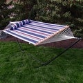 Sunnydaze 2-Person Quilted Hammock with Spreader Bars and Detachable Pillow - Hammock Stand Included - Thumbnail 60