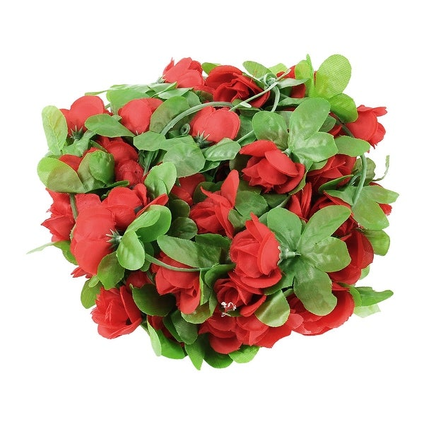 Home Wedding Plastic Artificial Flower Hanging Ivy Vine Red 7.2ft Length 2pcs