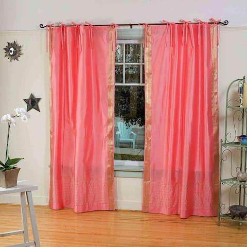 Pink Tie Top Sheer Sari Curtain / Drape / Panel - Pair