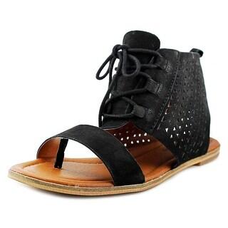 Lucky Brand Baari Women Open Toe Leather Black Gladiator Sandal